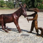 Puerto Vallarta's newest statue dedicated to the burros that helped build Puerto Vallarta.