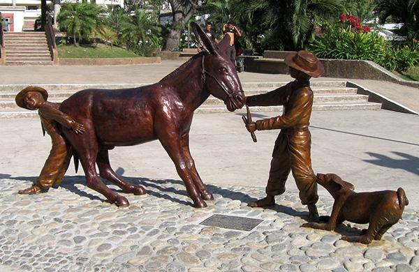 Puerto Vallarta's newest statue dedicated to the burros that helped build Puerto Vallarta.
